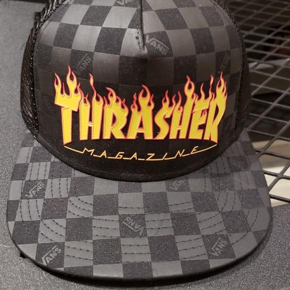 8908856ed25 Vans x Thrasher Skateboard Magazine Trucker hat